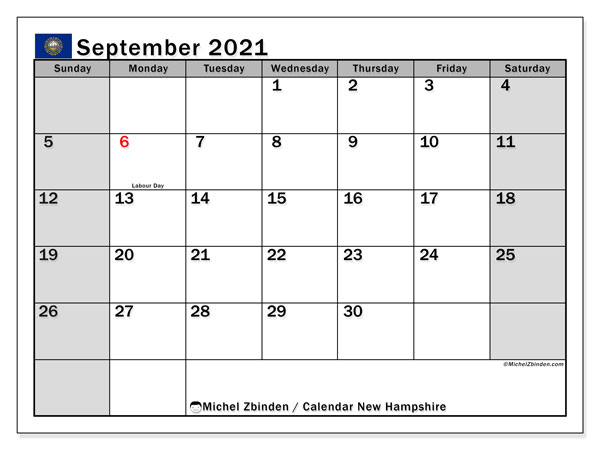 September 2021 Calendar, with the holidays of New Hampshire. Holidays calendar to print free.