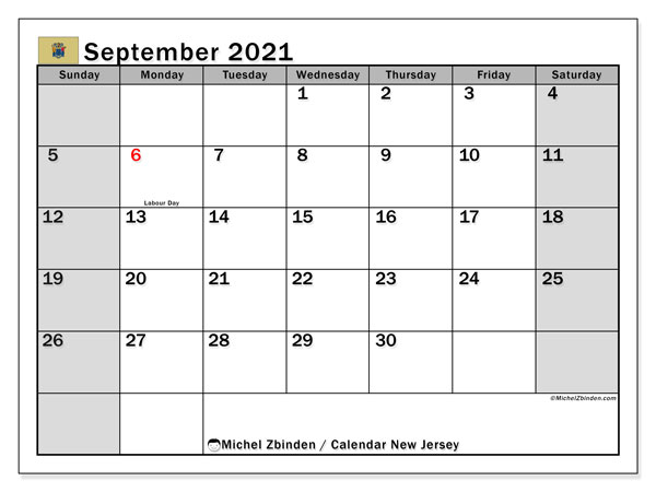 Calendar September 2021 - New Jersey. Public Holidays. Monthly Calendar and free timetable to print.