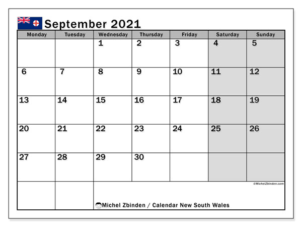 September 2021 Calendar, with the holidays of New South Wales. Holidays calendar to print free.