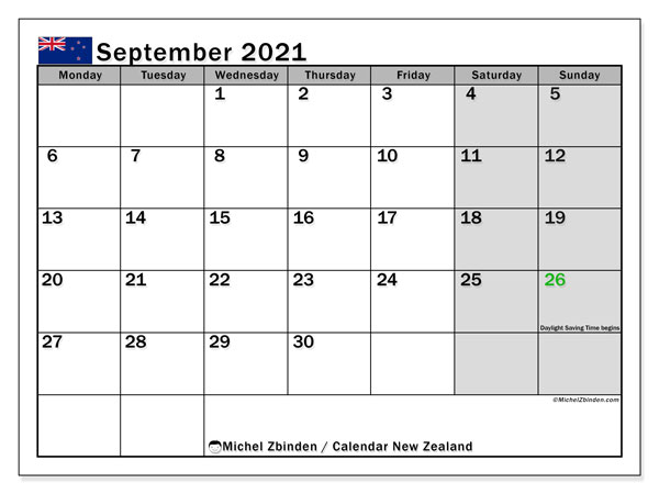 Calendar September 2021 - New Zealand. Public Holidays. Monthly Calendar and free timetable to print.
