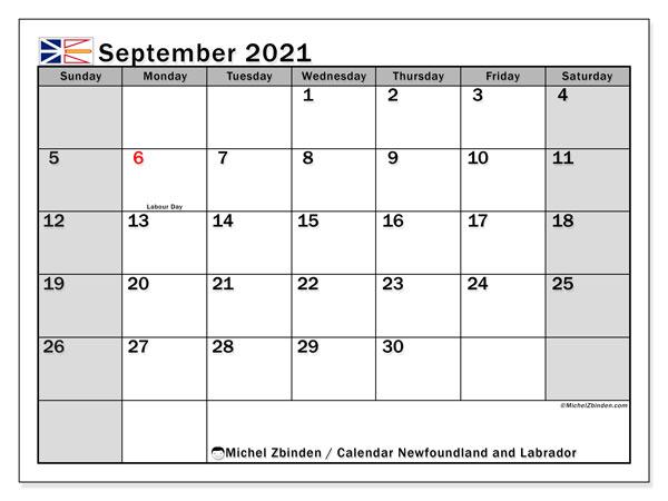 September 2021 Calendar, with the holidays of Newfoundland and Labrador. Holidays calendar to print free.