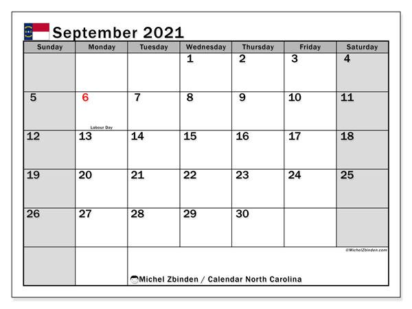 September 2021 Calendar, with the holidays of North Carolina. Holidays calendar to print free.