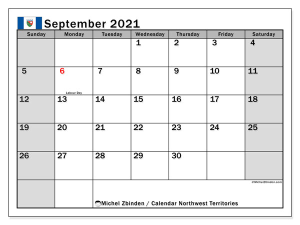 September 2021 Calendar, with the holidays of Northwest Territories. Free printable calendar with public holidays.