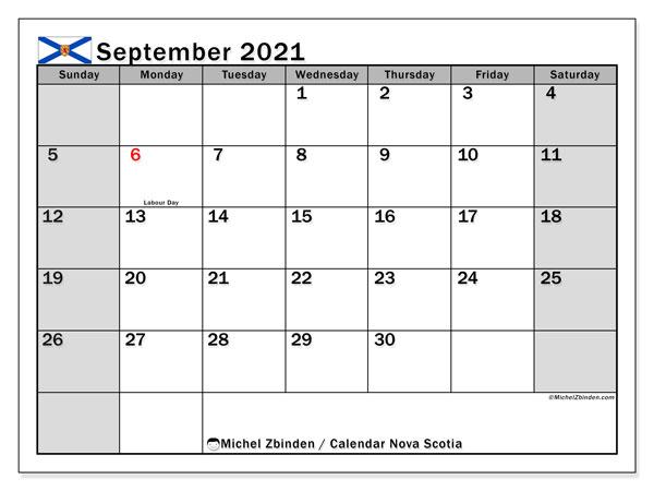September 2021 Calendar, with the holidays of Nova Scotia. Holidays calendar to print free.