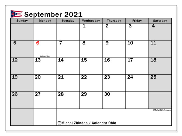 Calendar September 2021 - Ohio. Public Holidays. Monthly Calendar and planner to print free.