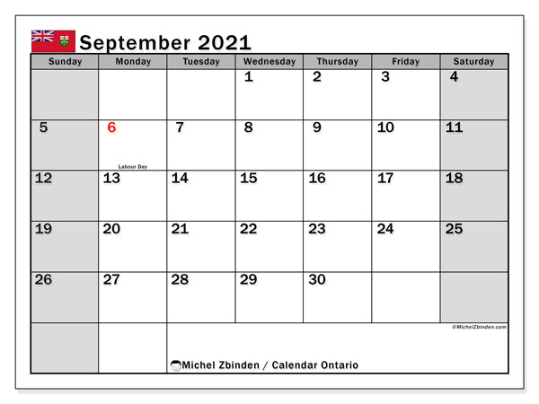 September 2021 Calendar, with the holidays of Ontario. Free printable calendar with public holidays.