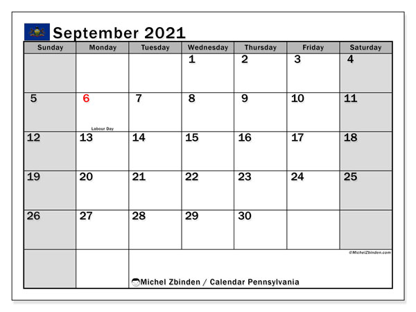 September 2021 Calendar, with the holidays of Pennsylvania. Free printable calendar with public holidays.