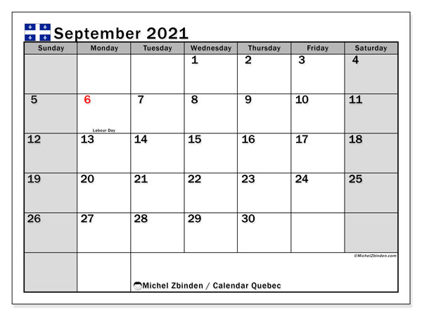 Calendar September 2021 - Quebec. Public Holidays. Monthly Calendar and free printable schedule.