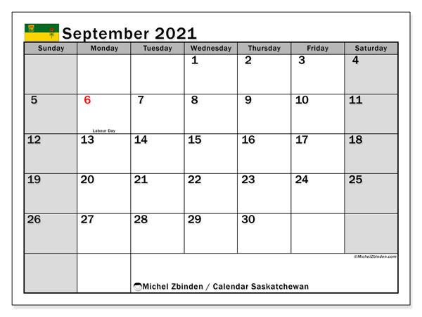 September 2021 Calendar, with the holidays of Saskatchewan. Holidays calendar to print free.