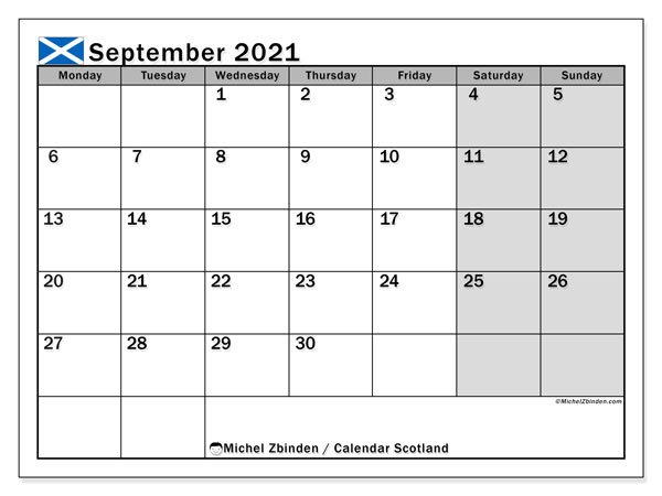 September 2021 Calendar, with the holidays of Scotland. Holidays calendar to print free.