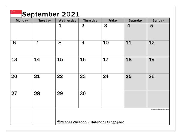 September 2021 Calendar, with the holidays of Singapore. Holidays calendar to print free.