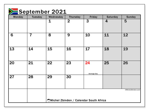 September 2021 Calendar, with the holidays of South Africa. Free printable calendar with public holidays.