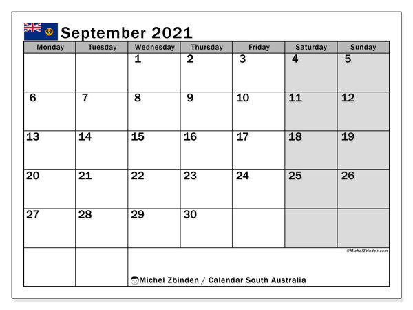 September 2021 Calendar, with the holidays of South Australia. Free printable calendar with public holidays.