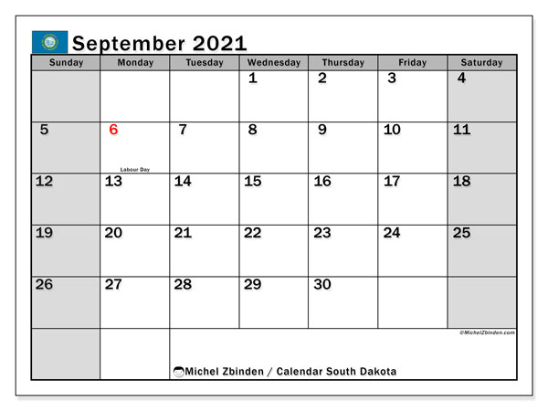 Calendar September 2021 - South Dakota. Public Holidays. Monthly Calendar and free printable bullet journal.
