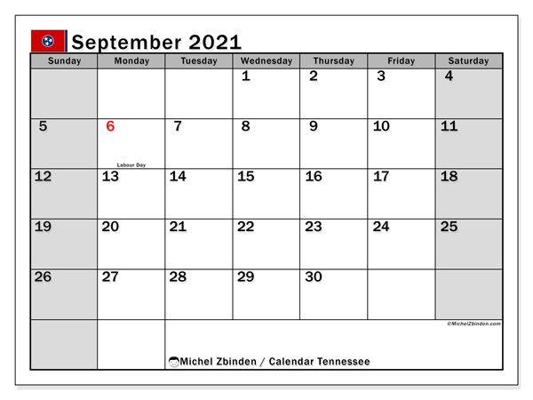 September 2021 Calendar, with the holidays of Tennessee. Free printable calendar with public holidays.