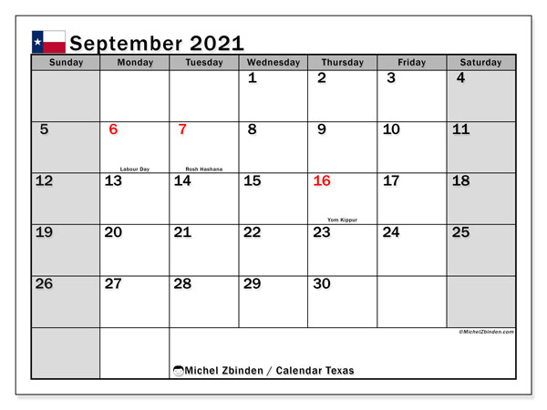 September 2021 Calendar, with the holidays of Texas. Holidays calendar to print free.