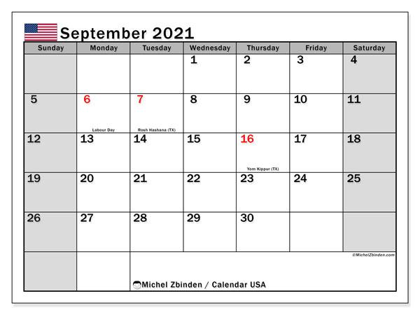 """Printable September 2021 """"USA"""" Calendar   Michel Zbinden EN"""