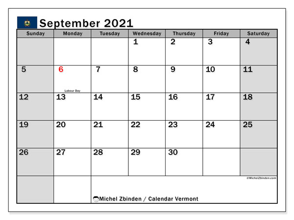 September 2021 Calendar, with the holidays of Vermont. Holidays calendar to print free.