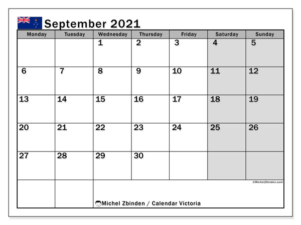 September 2021 Calendar, with the holidays of Victoria. Free printable calendar with public holidays.