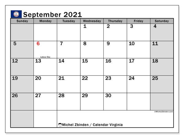 Calendar September 2021 - Virginia. Public Holidays. Monthly Calendar and free printable timetable.