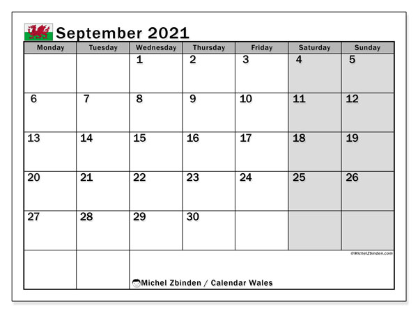 September 2021 Calendar, with the holidays of Wales. Holidays calendar to print free.