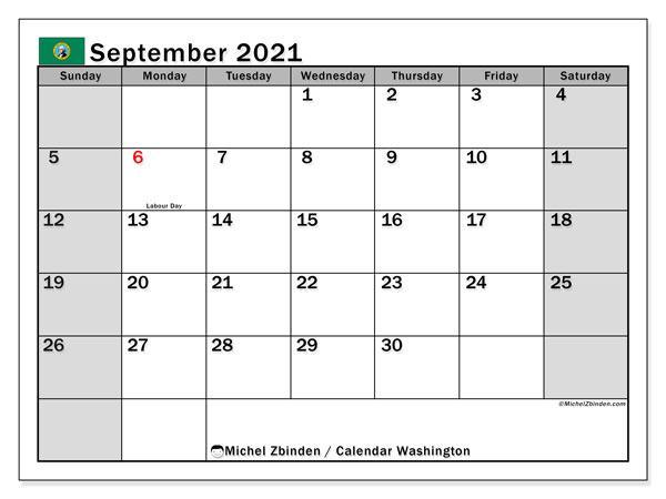 September 2021 Calendar, with the holidays of Washington. Holidays calendar to print free.