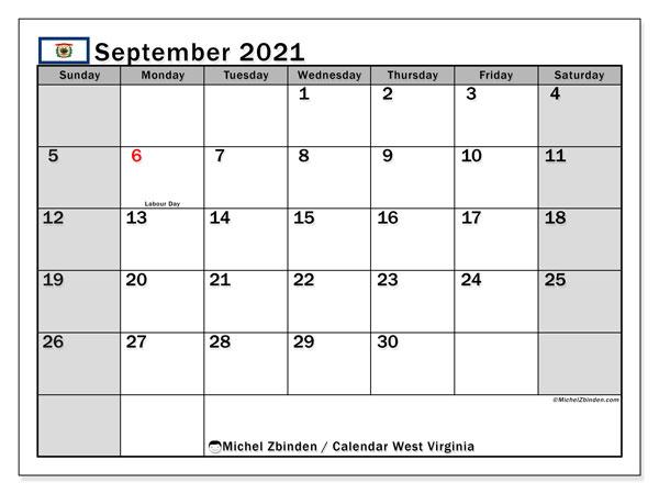 September 2021 Calendar, with the holidays of West Virginia. Holidays calendar to print free.