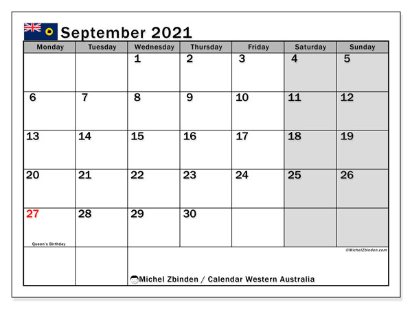 September 2021 Calendar, with the holidays of Western Australia. Free printable calendar with public holidays.