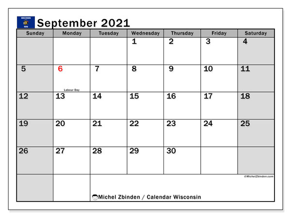 September 2021 Calendar, with the holidays of Wisconsin. Free printable calendar with public holidays.