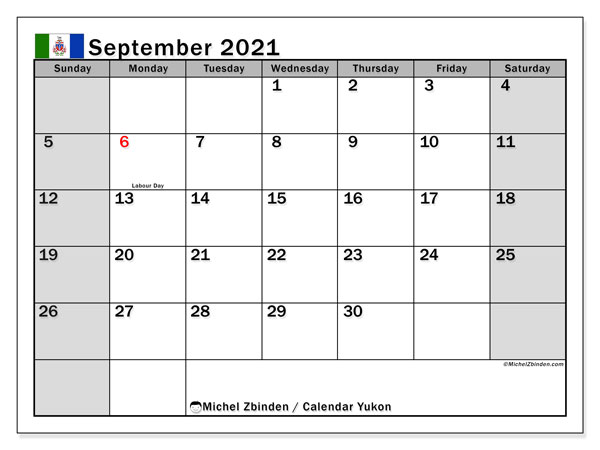 September 2021 Calendar, with the holidays of Yukon. Holidays calendar to print free.