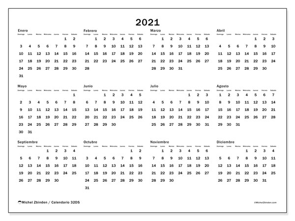 "Calendarios 2021 ""Domingo   Sábado""   Michel Zbinden ES"