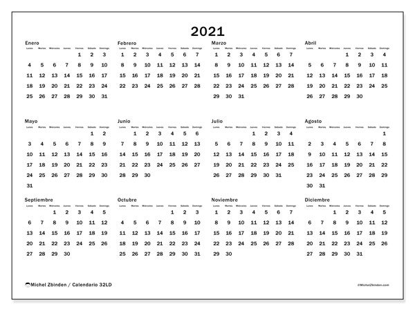 "Calendarios 2021 ""Lunes   Domingo""   Michel Zbinden ES"