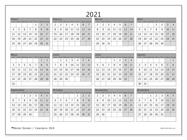 Calendario 2021, 35LD. Calendario anual para imprimir gratis.