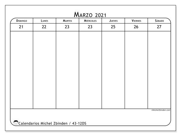 Calendario 2021, 43-12DS. Calendario para imprimir gratis.
