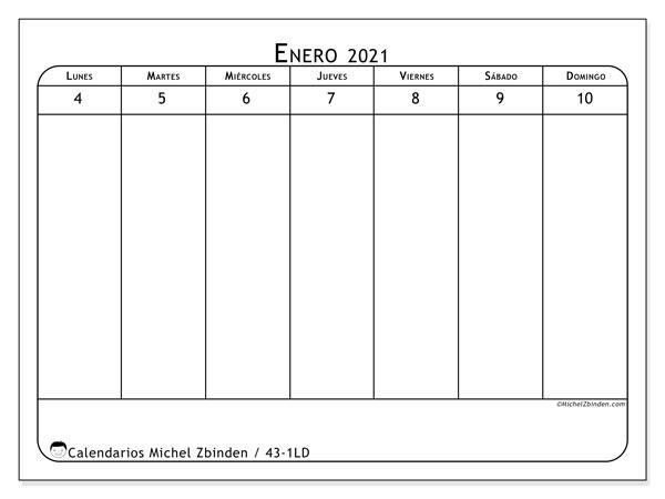 Calendario 2021, 43-1LD. Calendario gratuito para imprimir.