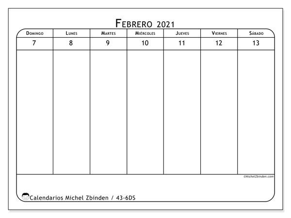 Calendario 2021, 43-6DS. Calendario para imprimir gratis.