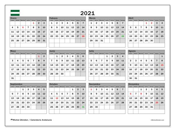 Calendario 2021, con días feriados en Andalucía. Calendario vacaciones y festivos para imprimir gratis.