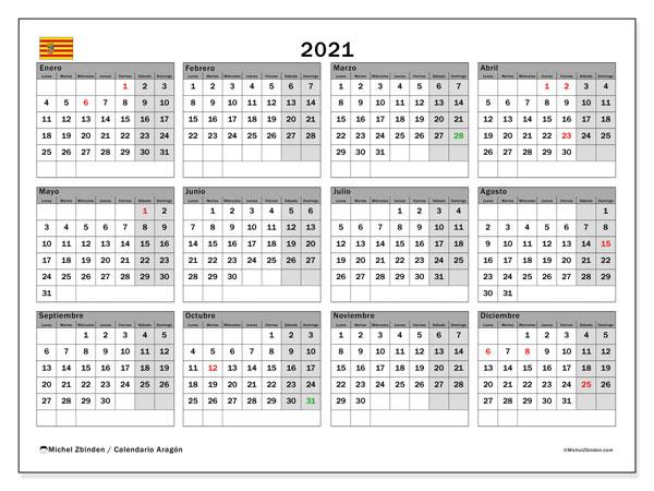 Calendario 2021, con días feriados de Aragón. Calendario vacaciones y festivos para imprimir gratis.