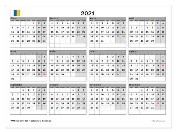 Calendario 2021, con días feriados en las Islas Canarias. Calendario vacaciones y festivos para imprimir gratis.