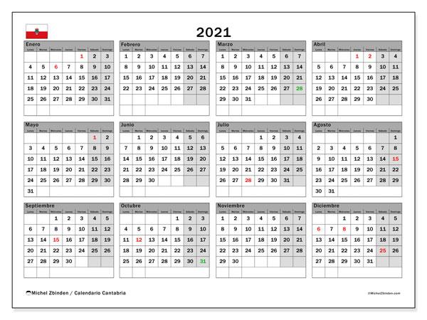 Calendario 2021, con días feriados en Cantabria. Calendario para imprimir gratis con días festivos.