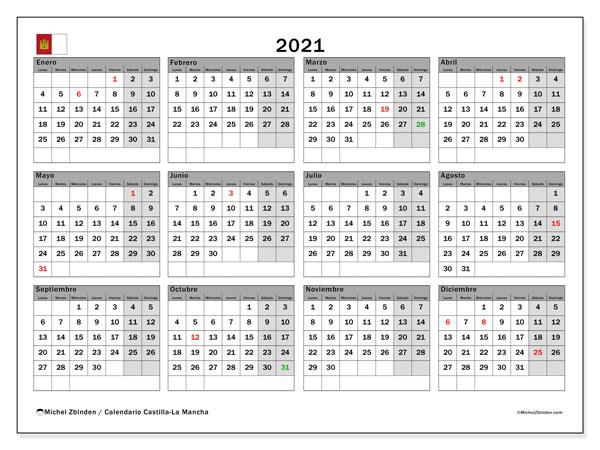 Calendario 2021, con días feriados en Castilla-La Mancha. Calendario para imprimir gratis con días festivos.