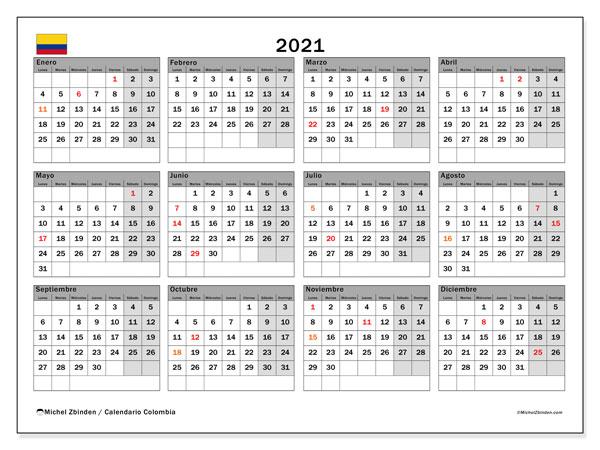 """Calendario """"Colombia"""" 2021 para imprimir   Michel Zbinden ES"""