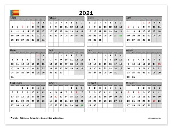 Calendario 2021, con días feriados de la Comunidad Valenciana. Calendario para imprimir gratis con días festivos.