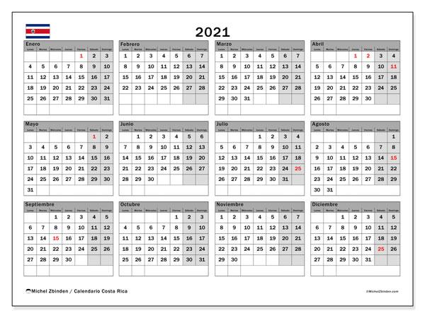 Calendario 2021, con días feriados de Costa Rica. Calendario para imprimir gratis con días festivos.