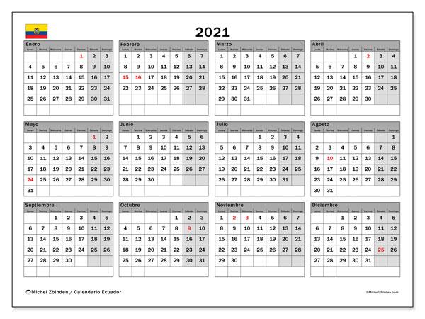 Calendario 2021, con días feriados en Ecuador. Calendario vacaciones y festivos para imprimir gratis.