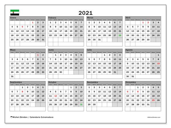 Calendario 2021, con días feriados en Extremadura. Calendario vacaciones y festivos para imprimir gratis.
