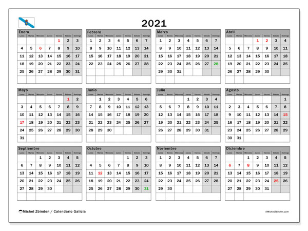 Calendario 2021, con días feriados en Galicia. Calendario para imprimir gratis con días festivos.