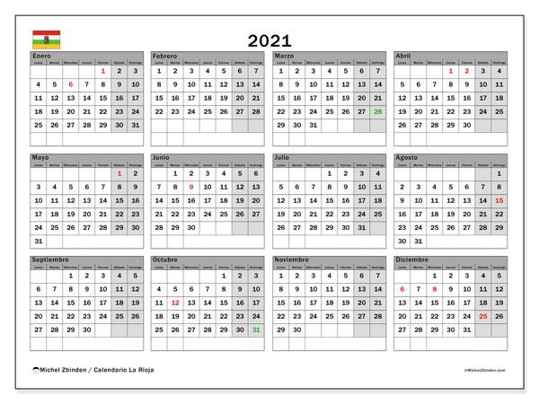 Calendario 2021, con días feriados en La Rioja. Calendario vacaciones y festivos para imprimir gratis.