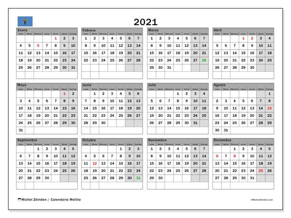 Calendario 2021, con días feriados en Melilla. Calendario vacaciones y festivos para imprimir gratis.