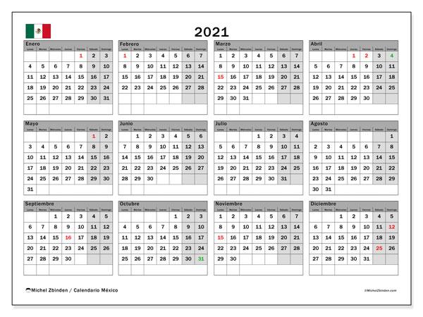 """Calendario """"México"""" 2021 para imprimir   Michel Zbinden ES"""